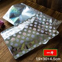 《一斤-櫻花-半面電鍍鋁箔夾鏈立袋》夾鏈袋/立袋/包裝袋/糖果袋/麵包袋/餅乾袋/西點袋/飾品袋/塑膠袋/烘培包裝