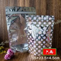 《六兩-櫻花-半面電鍍鋁箔夾鏈立袋》夾鏈袋/立袋/包裝袋/糖果袋/麵包袋/餅乾袋/西點袋/飾品袋/塑膠袋/烘培包裝