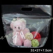《鑽石型(大)全透明手提夾鏈立袋》夾鏈袋/手提袋/包裝袋/糖果袋/麵包袋/餅乾袋/西點袋/飾品袋/塑膠袋/烘培包裝