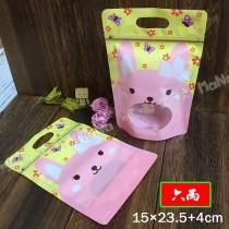 《六兩-可愛小兔-手提夾鏈立袋》PP夾鏈袋/手提袋/包裝袋/糖果袋/麵包袋/餅乾袋/西點袋/飾品袋/塑膠袋/烘培包裝